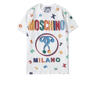 G4 MOSCHINOS бренд футболка милый маленький медведь шаблон горячего тиснения печати высокое качество новая мода футболка