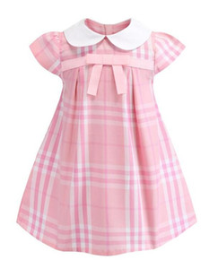 Estate Little Girls risvolto Accademia bambino del vento senza maniche Puckered Gonna Premium cotone del bambino dei capretti Dress Big Plaid