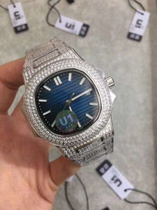 U1 Famous fashion classic nautilus full diamond 40MM dial automatic mechanical movement sapphire glass 316 stainless steel buckle male table
