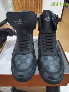 Louis Vuitton boots DHL-Qualität Rivoli Turnschuhe Iconic Damier Graphite Canvas Männer Luxusfreizeitschuhe Druckleder Klettverschluss Band Turnschuhe