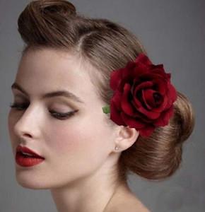 fiesta de la boda pinzas para el cabello broche de la mujer 4.5''Fabric Blooming flor de Rose el envío libre 30pcs pinza de pelo de los arcos de flores pelo de la boda de novia