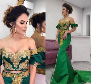 Two Pieces Emerald Green Dubai Abaya Kaftan Arabic Prom Dresses 2020 Satin Mermaid Off Shoulder Gold Sequins Beaded Lace Evening Gown AL6457