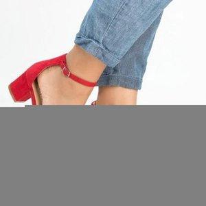 Elbise Sandalet pompaları Sıcak Satış-Laamei 2019 Yeni Kadın Sandalet Yaz Ayakkabı Kadınlar Açık Burun Chunky Yüksek Topuklar