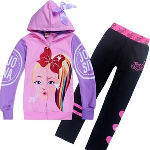 Jojo Сива одежды наборы 4-12t Детские девушка молнии толстовка + брюки шт наборы 110-150cm детского конструктора одежды девочки CSS362