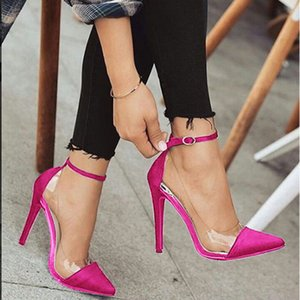 New Style High Heel Pointed Monochrome Belt Buckle Stylish Women'S Single Shoes Rose Red Pink Black Apricot Color Size 34 And 43 Y200702
