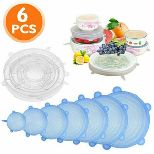 Silicone Stretch Lids Suction Pot Lids 6Pcs Set Food Grade Fresh Keeping Wrap Seal Lid Pan Cover Kitchen Tools CCA12159 30set
