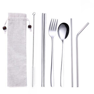Stainless steel Cutlery Set with Portable bag 3PCS SET and 5PCS SET Flatware spoon Fork chopsticks straw brush Kitchen Travel Tableware Set