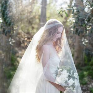 3 mètres de haute qualité Blanc / Ivoire 1 couche cathédrale main de perles de cristal bord Voile de jeune mariée Veils Accessoires de mariage