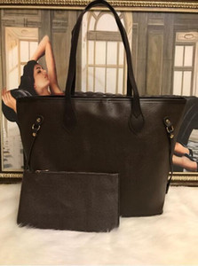 2pcs set classic Designer womens handbags flower ladies composite tote PU clutch shoulder bags brown female purse with wallet 18