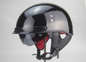 TKOSM мотоциклетный шлем Cascos Para Moto Open Половина лица Casco Moto Vintage Jet Capacetes де Motociclista с двойным объективом