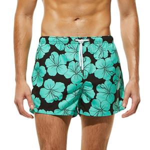 Männer Breathable Swim Pants Badebekleidung Shorts Slim Wear Briefs Flower Print Grün Strand Shorts Größe S-XL