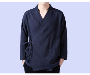 Female and Male Cotton and linen shirts Chinese Style Men's top vintage outwear