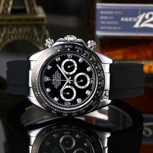 Tüm küçük kadranı çalışma üst marka kuvars kronometre 40mm erkek isviçre marka lüks saat moda spor kol saati Relojes saatler
