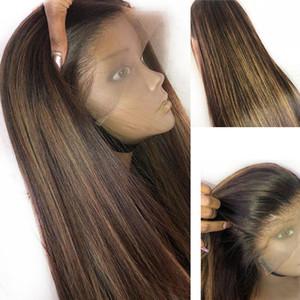 Pelucas de cabello humano con encaje frontal de 13x6 Cabello virgen peruano sin cola Pre desplumado con cabello de bebé Ombre Destacados rectos Peluca de color rubio miel