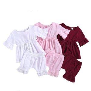 Çocuklar Tasarımcı Giyim Bebek Kız fırfır Giyim Yaz Yumuşak Nefes Üst Dantel Şort Suits Çocuk Casual Tişörtlü Harem Pantolon YP469 ayarlar