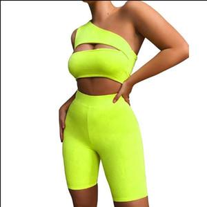 Yaz Kadın Neon Renk İki Adet Set Kapalı Omuz Hollow Out Kırpma Üst Elastik Yüksek Bel Şort Kıyafet Eşofman