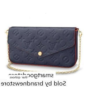 M64099 Pochette Félicie Embossing Blue Real Chain Bag Long Chain Wallets Key Card Holders Purse Clutches Evening