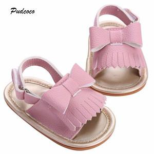 2018 marca verano sandalias de bebé recién nacido Bowknot de la borla de la PU Toddler Princess Girl Kids Newborn Shoes
