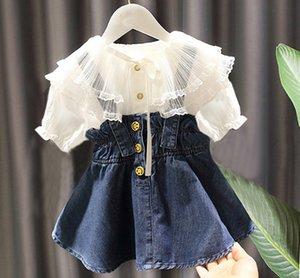 Fashion new girls denim outfits children double lace falbala collar short sleeve shirt+ruffle suspender denim dress 2pcs kids sets A3086