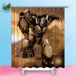 Vixm Transformers Comic Tela decorativa Cortina de ducha Tejido de poliéster impermeable 8 Tamaños Cortina de ducha 12 Ganchos