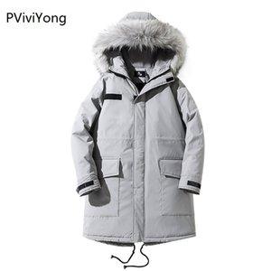 PViviYong 2019 Зимняя куртка мужчины мужской моды капюшоном пальто куртки мужчины высокого качества хлопка Длинные пальто одежды куртки 951
