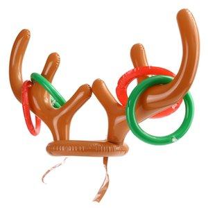 نفخ عطلة عيد الميلاد حزب لعبة لوازم لعب سانتا مضحك الرنة قرن الوعل خاتم مع قبعة تصميم