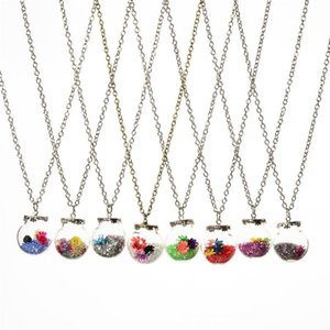 Crystal Flower Drift wishing bottle ball Necklaces Pendants for women lover locket DIY jewelry DROP SHIP 161545