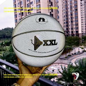 New DXXL 4. Holographic Luminous Basketball reflektieren Licht Moonlight weißen Basketball Ball PU Leder Indoor Outdoor Basketball Größe 7