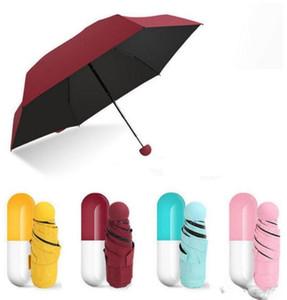 Малого Capsule Case Mini Umbrella Ultra Light мини складной ветрозащитный Umbrella конфета цвет Карманные Зонтики Солнечный Дождливый зонтик WY127Q