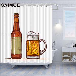 ATOMAX Bar Poster Shower Curtains Yellow Wheat Beer Bath Curtain Barreled Beer Crayfish Hot Dog Bathroom Curtain Waterproof