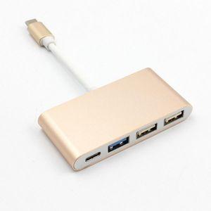 100шт типа C для типа C USB 3.0 2 USB 2.0 HUB зарядный кабель Адаптер конвертера для Macbook и другие ноутбуки