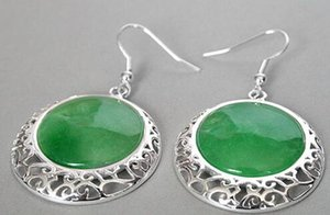 """VINTAGE 925 Sterling Silver NATURAL Green Jade Natural Coin Beads 2 """"Pendientes"""