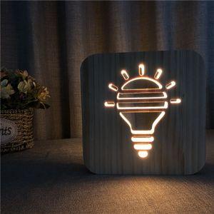 لمبة الشكل الإبداعي الجدول مصباح أجوف التدريجي الخشب الصمام ليلة الخفيفة الدافئة الأبيض الصلبة الخشب نحت مصباح الليل 3D