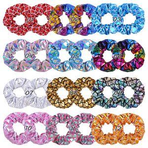 12 colores de la cola de caballo Titular de Bandas Escala de pelo Scrunchy pelo elástico láser Scrunchy Hairbands Lazos Cuerdas para muchachas de las mujeres