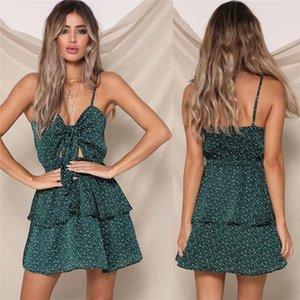 Onda Ponto de impressão Womens Casual Vestidos Sexy Bind Bow Spaghetti Strap mulheres Vestidos Designer Casual Mulheres Roupa
