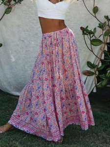 Kiyumi Boho Floral Printed Skirt High Waist Split Maxi Rayon Skirt Vintage Beach Loose Casual 2019 Summer Long Pink Skirts
