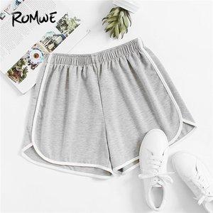 Romwe Sport Grigio Ringer fiammati elastico in vita delle donne Pantaloncini da corsa 2018 Solid Grey sportivi fitness da jogging Pantaloncini
