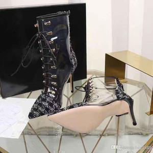 2019 Nuevo diseñador de moda Zapatos de tacón bajo, permeables al aire Cómodos Botas transparentes para mujeres Caja de embalaje original Entrega