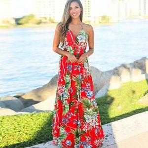 Cruz de la moda para mujer vestidos sin espalda del tirante de espagueti floral de la playa vestido con cuello en V vestidos suaves cómodos casual de las señoras