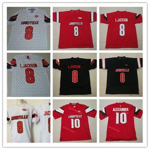 Mens NCAA Луисвилл кардиналы Lamar JacksonFootball Джерси прошитой # 8 L.Jackson # 10 Jaire Александр Луисвилл кардиналы Джерси S-3X