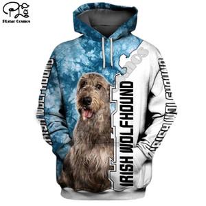 New Mens engraçado wolfhound cão 3D imprimir hoodies outono capuz mulheres manga longa pullover Treino outwear primavera casaco com capuz