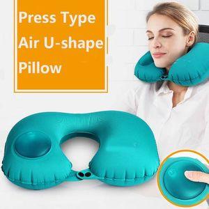 Forma en U Automática Inflable Almohada de viaje Almohada para el cuello Car Air Inflatable Almohada para el cuello Amortiguador de viaje Tipo de prensa plegable Almohadas Ligeras