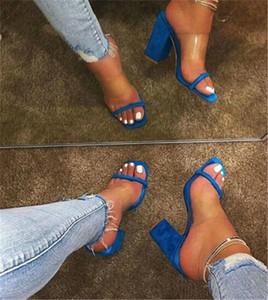 Kadınlar Şeffaf Sandalet Bayanlar Yüksek topuk Terlik Şeker Renk Açık Ayak parmakları Kalın Topuk Moda Kadın Slaytlar Yaz Ayakkabı