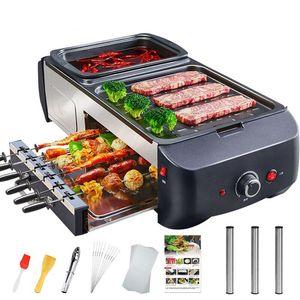 venta caliente multifuncional Plancha Eléctrica Hot Pot parrilla de la barbacoa todo en una máquina del hogar del horno de barbacoa