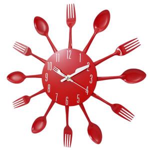 Yeni-Ev Dekorasyon gürültüsüz Paslanmaz Çelik Çatal Saatler Bıçak Ve Çatal Kaşık Duvar Saati Kitchen Restaurant Ev Dekorasyonu Kırmızı