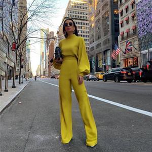 Высокая шея твердые комбинации весенние женщины дизайнерские одежды мода дизайнер женские комбинезоны уличный стиль стиль фонарика