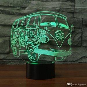 Yaratıcı 3D Led Renkli Büyük Gözler Otobüs Araba Night Lights Usb Atmosfer Masa Lambası Usb Başucu Uyku Aydınlatma Yatak Odası Dekor Hediyeleri Noel Hediye
