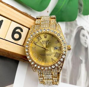 2020 nen Uhr Iced Out Uhr Gold-Diamant-Uhren der Männer Sportarmbanduhr Falten Stahlband Sport wasserdicht Relogio Quarzuhr Liebhaber
