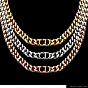 2020luxury designer jewelry women necklaces rose Gold Thick Chains necklaces with CD stainless steel bracelet and necklace suit fashion link
