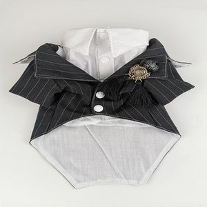 handmade dog suit dog clothes wedding dress classic grey strip with white shirt two piece for pet cat Maltese